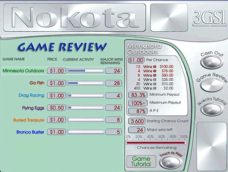 A menu of games hosted on Nokota Gaming System