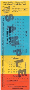 Multi-colored tri-wheel tickets used for wagering with Minnesota Tri-Wheel®