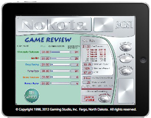 Screen for reviewing Nokota Gaming System games.