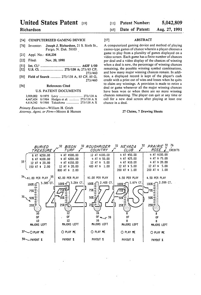 First patent for electronic pull tab system