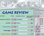 Nokota electronic pull tab game selection menu with statistics on each game